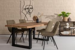 Eettafel - Brix U - Boomstamtafel - Naturel hout/ zwart