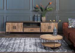 Tv dressoir - Sturdy - Naturel hout / Zwart