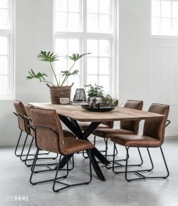 Gerecycled teakhout - Curves dining table